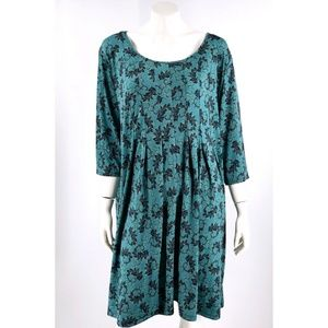 NY Collection Dress Plus 3X Petite Green Black Scr